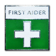 Green & White First Aid Lapel Badge